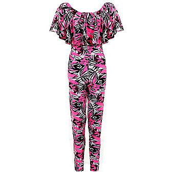 Ladies Celeb Inspired Floral Tropical Off Shoulder Women's Party Playsuit Jumpsuit