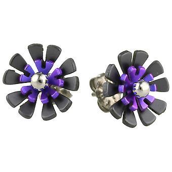 Ti2 Titanium Black Back Ten Petal Flower Stud Earrings - Imperial Purple