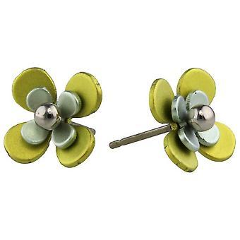 Ti2 Titanium Double Four Petal Bead Flower Stud Earrings - Yellow