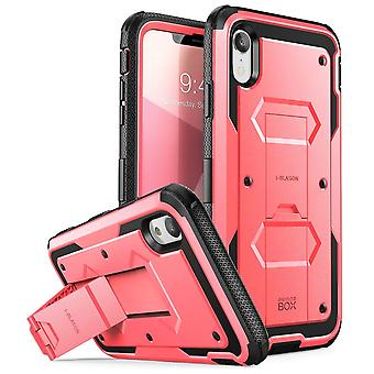 iPhone XR Case, [Armorbox] [Built in Screen Protector]  [Heavy Duty Protection] [Kickstand] Case (2018 Release) (Pink)