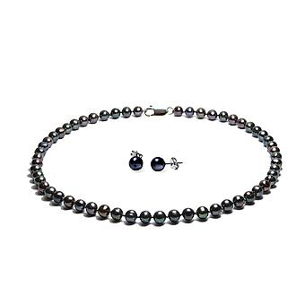 Set necklace and earrings pearls and Silver 925, white or black