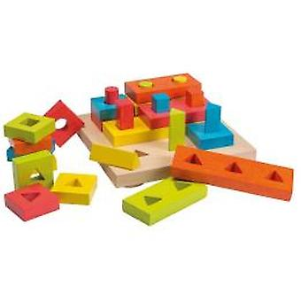 Joueco wooden Shapes Stack puzzle