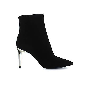 KENDALL AND KYLIE BLACK SUEDE ZOE HEELED BOOTIE