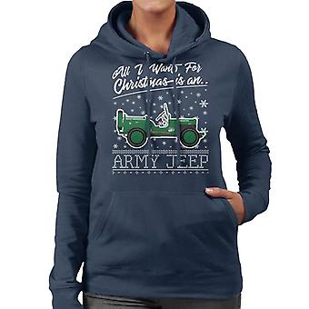 All I Want For Christmas Is An Army Jeep Women's Hooded Sweatshirt