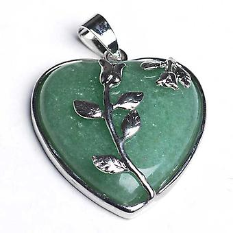 1 x Green Aventurine 35mm Leafy Heart Charm/Pendant CB29902