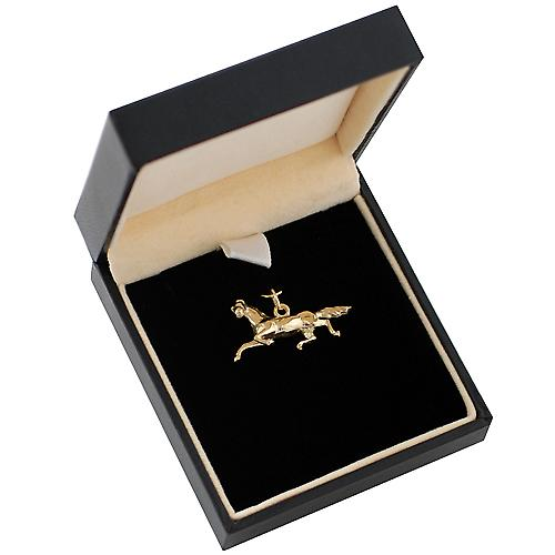 9ct Gold 13x26mm Running horse pendant