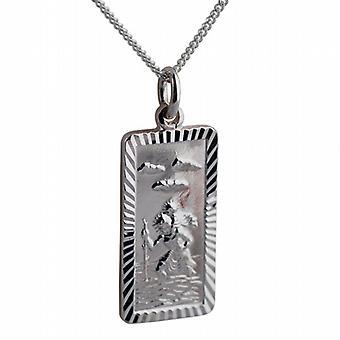 Srebrny 26x13mm prostokątne diamond cut krawędzi St Christopher Pendant z krawężnika łańcucha 18 cali