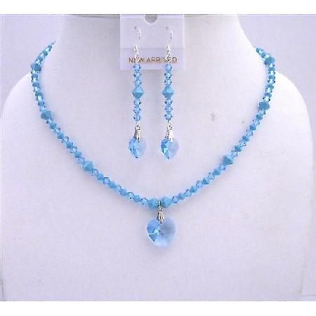 Swarovski Aquamarine Turquoise Crystals Heart Pendant Earrings Jewelry