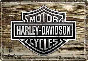 Harley Davidson wood logo mini-sign / metal postcard