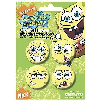 Bob esponja conjunto de botón botón oficial conjunto, 4 diseños diferentes de botón se enfrenta