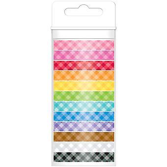 Doodlebug Monochromatic Washi Tape 8mmx12yds 12/Pkg-Gingham