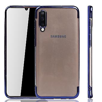 Handyhülle für Samsung Galaxy A50 Blau - Clear - TPU Silikon Case Backcover Schutzhülle in Transparent / glänzender Rand Blau