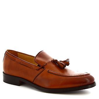 Leonardo Shoes Men's handmade tassel loafers shoes in tan calf leather