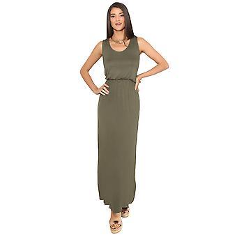 KRISP shirred midje ermeløs Maxi kjole