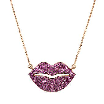 Kiss Me Lips Pendant Necklace Rose or Rouge Gemstone Charm Cadeau Anniversaire 925