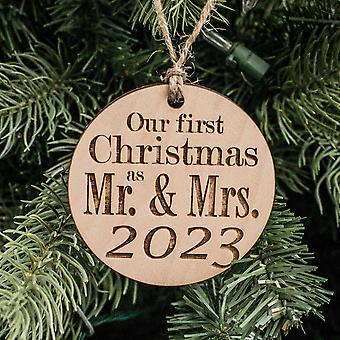 Ornament - 2023 our first christmas as mr and mrs - raw wood 3x3in