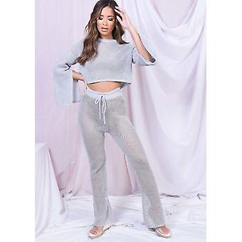 Metallic Batwing Slit Sleeve Crochet Top And Trouser Co Ord Set Silver