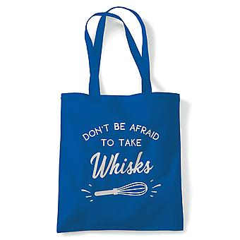 Don't Be Afraid To Take Whisks Tote | Cake Scone Bread Pastry Biscuit Pie Patisserie | Reusable Shopping Cotton Canvas Long Handled Natural Shopper Eco-Friendly Fashion