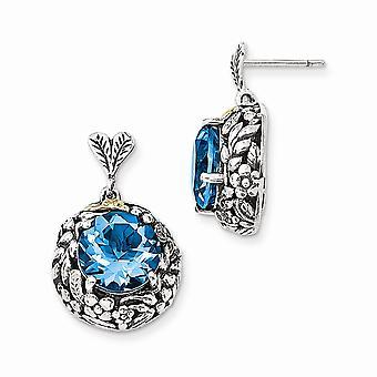 925 Sterling Argent Avec 14k Blue Topaz Post Dangle Boucles d'oreilles - 8.50 cwt