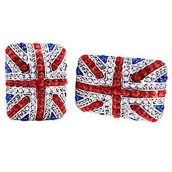 Butler & Wilson Crystal Square Union Jack Cufflinks