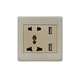 I LumoS Gold Pattern Multi Plug Socket & USB Phone Charger Single Wall Socket
