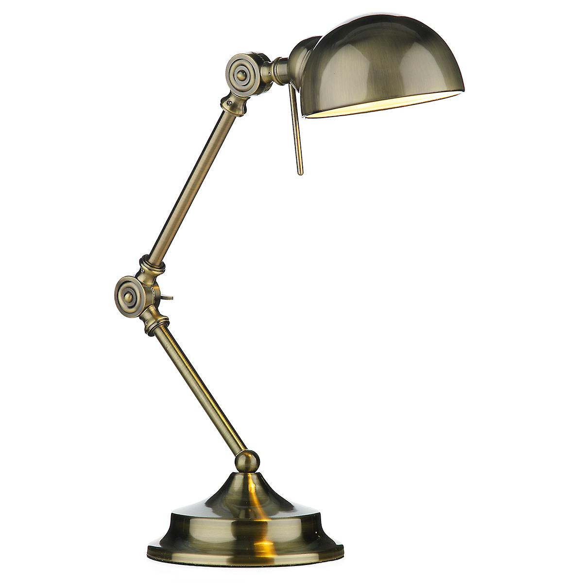 Dar RAN4075 Ranger Table Lamp In A Antique Brass Finish