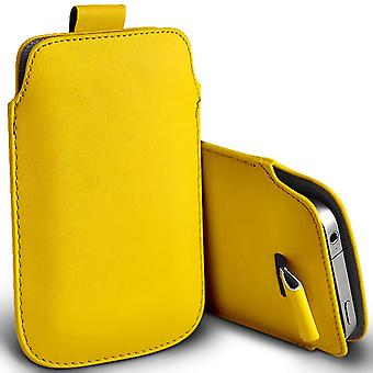 ( Yellow ) Pouch Case For HomTom HT17 case Premium Stylish Faux Leather Pull Tab Pouch Skin Case Various Colours To Choose FromHomTom HT17 Cover By i-Tronixs