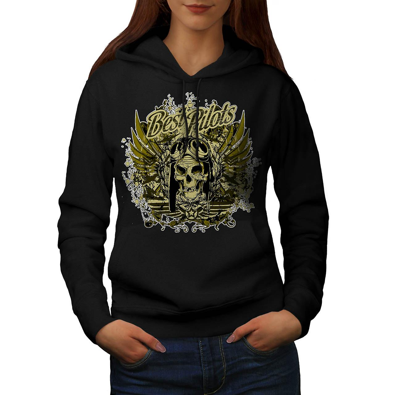 Best Pilot Fly Plane Flight Hell Women Black Hoodie | Wellcoda