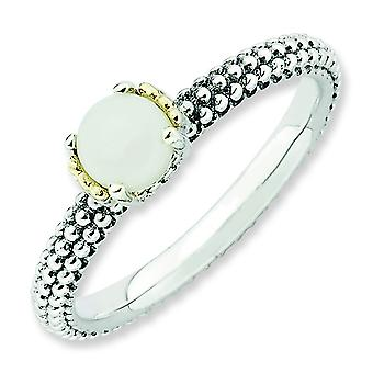 2.5mm Sterling Silver and 14k Stackable Expressions White Agate Antiqued Ring - Ring Size: 5 to 10