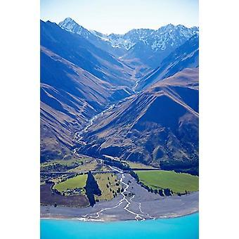 Озеро Pukaki и Кит поток Бен ОО диапазоне Южный остров Новой Зеландии плакат печати Дэвид Уолл