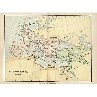 Karta över Romarriket i Ad 117 från nationella uppslagsverken utgiven av William Mackenzie London 1800 talet PosterPrint