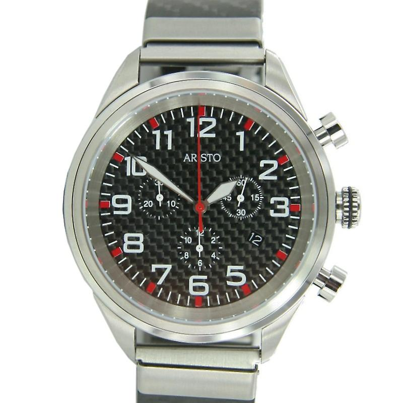 Aristo mens watch chronograph stainless steel carbon quartz 7 H 88