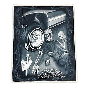 DGA Tees Showtime Sherpa Double Sided Plush Blanket Throw Black Car Wheel Shiny