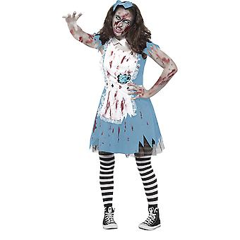 Smiffys Teen Girls Zombie Tea Party Costume Halloween Fancy Dress Blue Dress