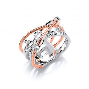 Cavendish French Silver and Rose Gold Galaxy Ring