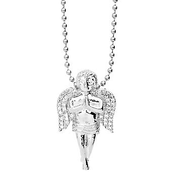 Iced out bling micro pave pendant - MINI Angel silver