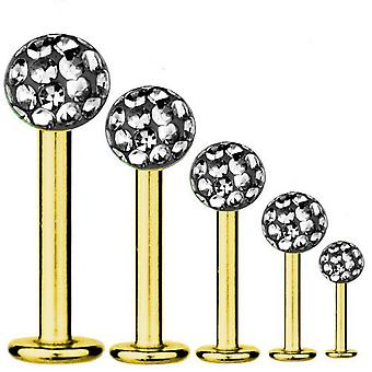 Labret Bar Piercing Gold Plated Titanium 1,2mm, Multi Crystal Ball Black Diamond | 5-12 mm