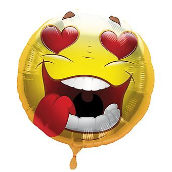 Foil balloon Smiley with heart eyes helium balloon 43 cm balloon