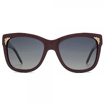 Bvlgari Serpenti Detail Sunglasses In Burgundy Polarised