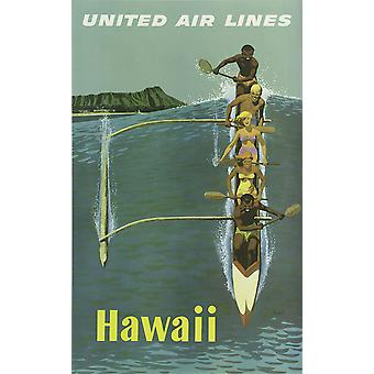 United Air Lines Hawaii Poster Print Giclee