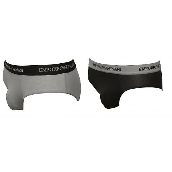 Emporio Armani 2-Pack Briefs, Grey/Black