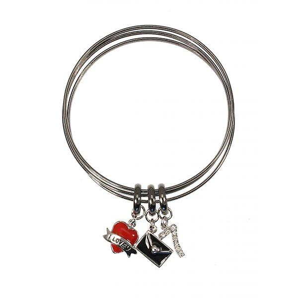 W.A.T  Love Heart And Letter Charm Bangle Set