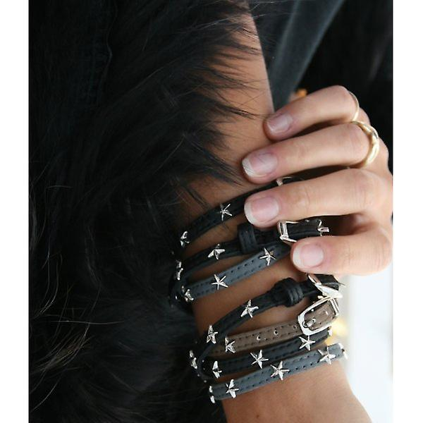 W.A.T Black Faux Leather Buckle Stud Strap Bracelets