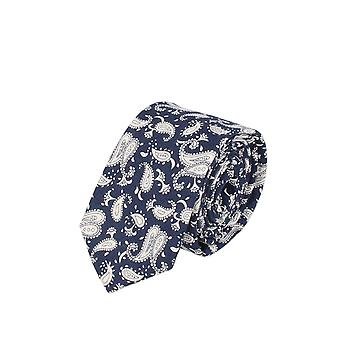 Snobbop narrow tie Club tie tie Navy blue white Paisley 6 cm