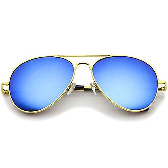 Classic Metal Frame Spring Hinges Color Mirror Lens Aviator Sunglasses 56mm