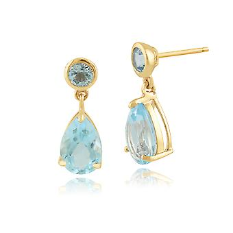 9ct Yellow Gold 3.24ct Blue Topaz Two Stone Drop Earrings