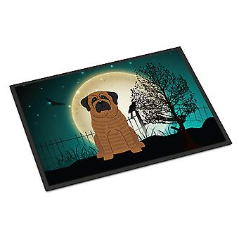 Halloween Scary Mastiff Brindle Indoor or Outdoor Mat 18x27