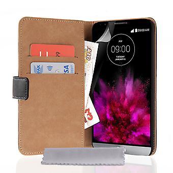 Caseflex LG G4 rigtige tegnebog læderetui - sort