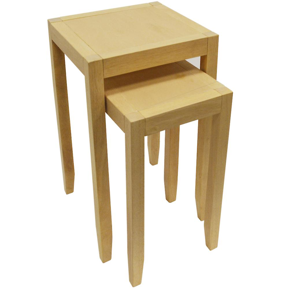 Anywhere - Solid Wood Nest Of Two Side Tables - Natural