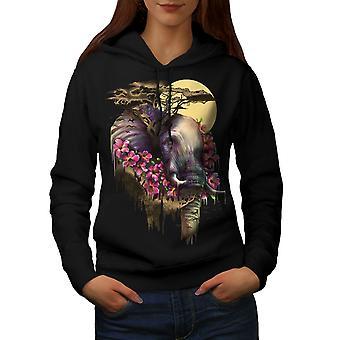 Elefant Blume Tier Frauen BlackHoodie | Wellcoda
